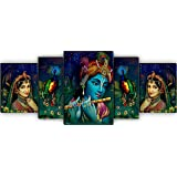 SAF Set of 5 Radhe Krishna with couple peacock UV Textured Home Decorative Gift Item MDF Panel Painting 18 Inch X 42 Inch SAN