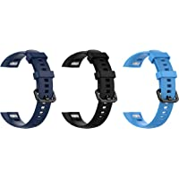 Rapidotzz Pack of 3 Adjustable Band Straps for Honor Band 4 / Honor Band 5 (Dark Blue, Black, Sky Blue)