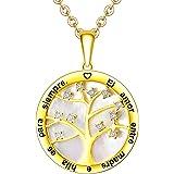 LOVORDS Collar Mujer Grabado Plata de Ley 925 Personalizado Colgante Círculo Árbol de la Vida Familiar con Nácar Regalo Madre