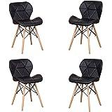 Uderkiny Lot de 4 chaises - Chaise de Salle à Manger avec Dossier en Cuir et Pieds en Bois de hêtre, Convient à la Salle à Ma