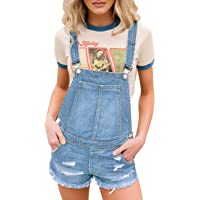 Roskiky Women's Casual Ripped Denim Overalls Dungaree Shorts Pockets Raw Hem Summer Playsuits