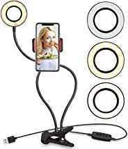 Selfie Ring Light with Cell Phone Holder Stand for Live Stream/Makeup LED Camera Lighting [3-Light Mode] [10-Level Brightnes