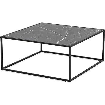More Design Couchtisch Mdf Metall Marmor Effekt Glanzend Fuss Schwarz 80 X 35 X 80 Cm
