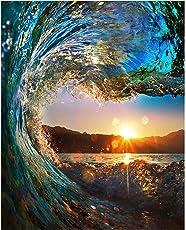 Diy Ölfarbe durch Anzahl Kit, Malerei Lacke Sunset Wave Seascape Zeichnung mit Pinsel 16 * 20 Zoll Weihnachten Dekor Dekorationen Geschenke (ohne Rahmen)