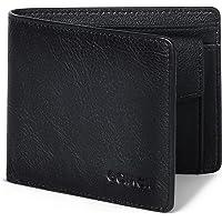 GOIACII Mens Wallets Genuine Leather RFID Blocking Slim Bifold Flip Mens Wallet with Coin Pocket
