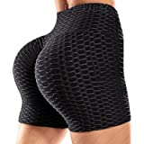 RIOJOY Honeycomb Ruched Booty Shorts for Women Scrunch Butt Push Up Gym Pole Dancing Shorts