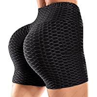 RIOJOY Bubble Ruched Booty Shorts for Women Scrunch Butt Push Up Gym Pole Dancing Shorts