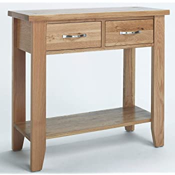 hallowood camberley console light oak finish solid wooden hall side end telephone table with 2 drawers one size