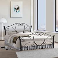 FurnitureKraft Atlanta Queen Size Metal Bed (Glossy Finish, Black)