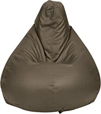 Story@Home XL Leatherite Single Seating Tear Drop Bean Bag Chair Cover Without Filler, Mud