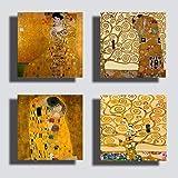 Printerland Quadri stile Klimt, 4 Pezzi, 30 x 30 cm, Albero della Vita Abbraccio, Oro, Stampa Tela Canvas Arredamento Arte XX