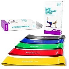 Fitnessbänder Set - 5 Premium Latex Bänder mit Ebook für Übungen zu Hause Gym