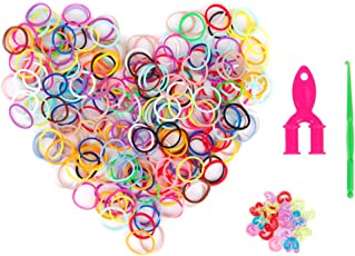 Sampada Synthetics Pack of 600 Colorful Rubber Bands w/ 24 Clip Mini Loom Hook DIY Bracelet Kit