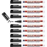 edding 400 permanent marker - zwart - 10 stiften - fijne ronde punt 1 mm - watervast, sneldrogend - wrijfvast - voor karton,