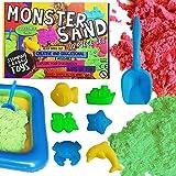 Stomping Ground Toys Coffret Sable Magique Cinétique Enfant 2 Sacs de Sable Vert Rouge, 6 Moules, 1 Bac à Sable 1 Pelle Incluse