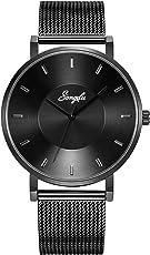 SONGDU Herren schwarz Quarz Geschäft Armbanduhr Klassisch Edelstahl mit Multifunktionen Chronograph Analog und Leuchtend Hände