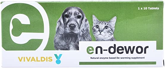 VIVALDIS Endewor Natural Enzyme Based Deworming Supplement for Dogs and Cats (1x10 Tablets)
