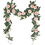 U'Artlines lot de 2 Guirlande de Rose Thé Artificielles avec Feuille de Lierre Simulation Rose Fleur de Vigne Fleurs Artifici