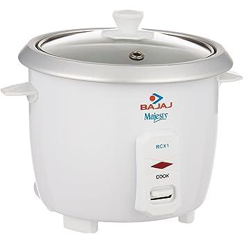 Bajaj Majesty RCX 1 Mini 0.4-Litre Multifunction Rice Cooker (White)