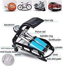 Krevia Aluminum Alloy Bicycle 150 psi High-Pressure Air Pump (Black and Blue)