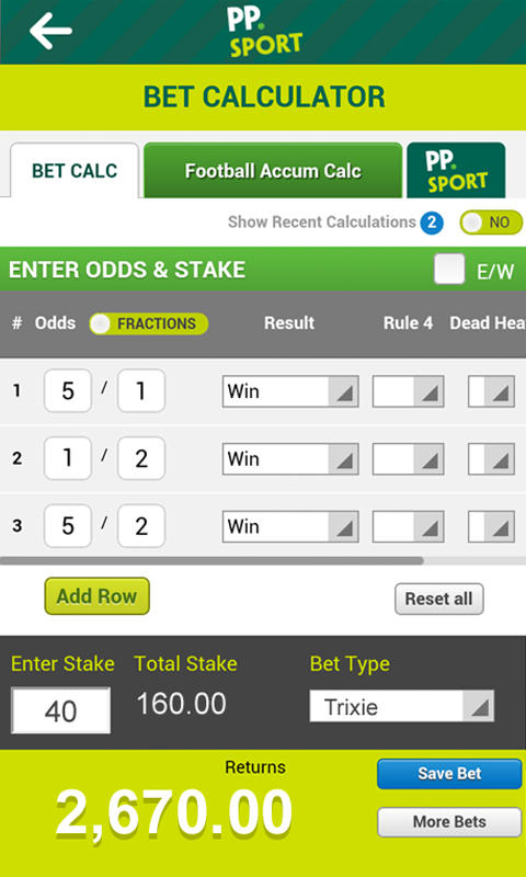 horse track betting calculator paddy