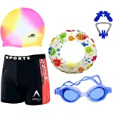 THE MORNING PLAY Boys Swimming Kit with 1 Swimming Shorts | Costume | Trunk 1 Anti Fog Swimming Goggles Swim Ring Swimming Ca