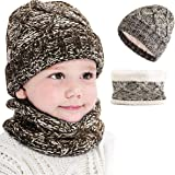CheChury Set de Bufanda y Gorro Niños Niñas Unisex Conjuntos Beanie Sombrero de Punto Cuello Bufanda de Punto Cálido de 2 Pie