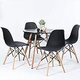 H.J WeDoo Ensembles de Meubles de Salle à Manger, Ronde Table de Salle à Manger en MDF avec 4 Moderne Scandinaves Noir Chaise