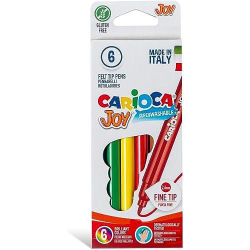 Carioca Joy - Pennarelli con punta fine in feltro, lavabili, barattolo da 6 unità