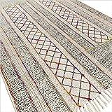 Eyes of India - Baumwolle Blockdruck Akzent Bereich Übertrocknet Dhurrie Teppich Flach zu Weben Hand Geflochten Boho Chic Indische Böhmisch - Multi, 4 X 6 ft. (120 X 180 cm)
