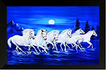 SAF Photograph 7974A Seven running horses||vastu painting for home and office||Seven lucky running horses painting || 7 horses painting ||seven horses||vastu horses||Shyam Art 'N' Frame exclusive Framed Wall Art Paintings(Wood,35cmx 2Cmx 50Cm framed painting)