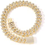 Fantex 20mm Iced Out 5A CZ Diamonds Miami Cuban Link Chain 14k Baguette Crazy Chain Necklace con chiusura a scatola per uomin