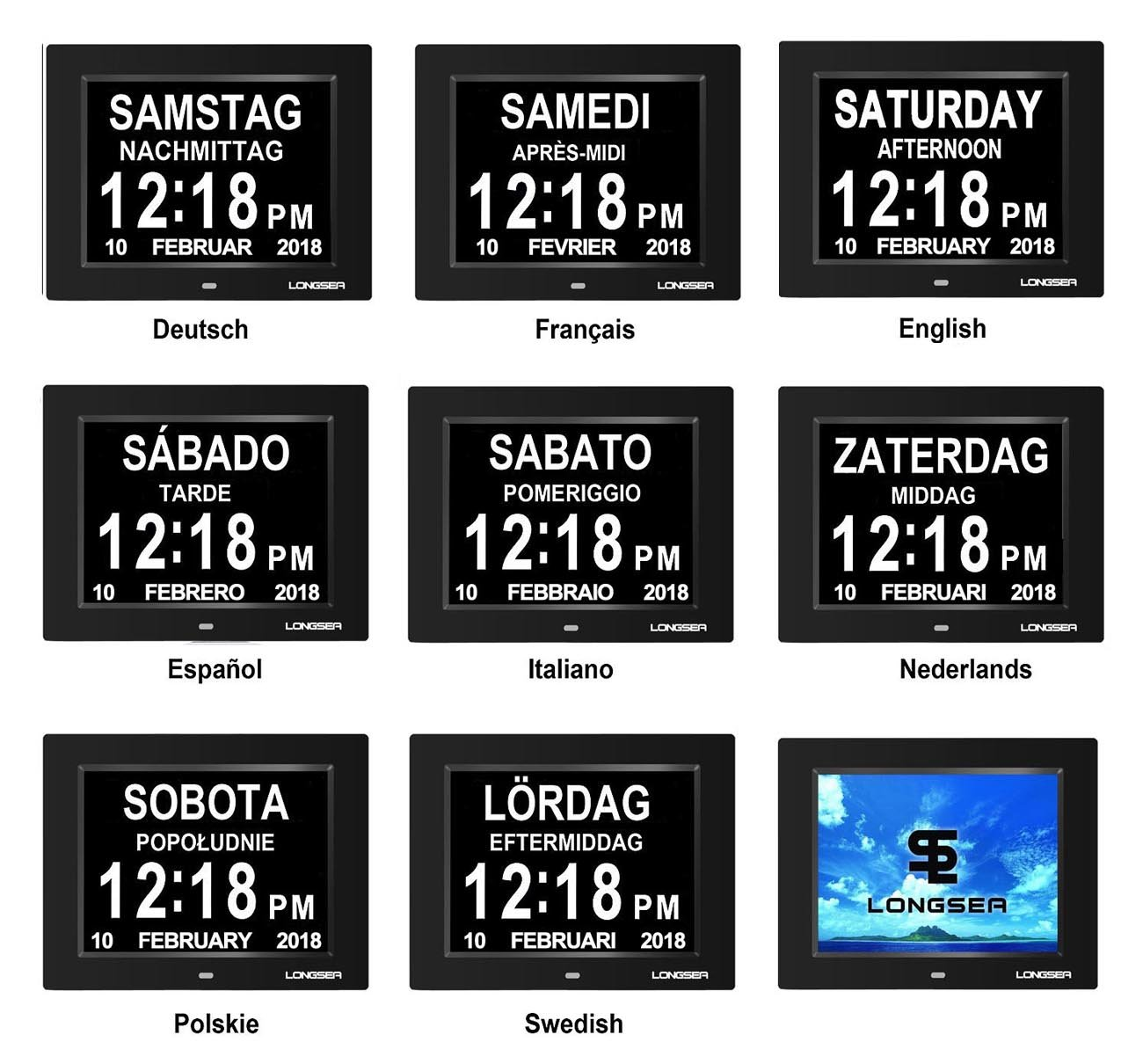 Calendario Digitale Per Anziani.Longsea Orologio Da Tavolo Con Calendario Digitale Sveglia Del Calendario Con 8 Sveglie E 8 Schermo Grande Auto Oscuramento 8 Lingue Per Alzheimer