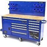 Carro de taller profesional azul – Armario de taller 158 cm 10 cajones banco de trabajo con puerta y pared trasera – Superfic
