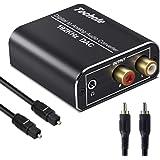 Óptico a RCA, Techole 192KHz Convertidor Digital a Analógico, Óptico Coaxial (RCA) Toslink SPDIF a Audio Estéreo RCA L/R y Ja