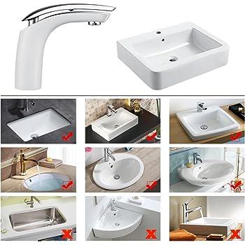 Homelody Weiss Waschtischarmatur für bad Wasserhahn Waschtisch Armatur Waschbeckenarmatur Mischbatterie Waschbecken Einhebelmischer Badarmatur Elegant