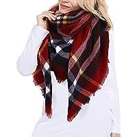 JFAN Moda Tartan Sciarpa Donna Inverno Pasmina Grandi Tartan Stole Maglia Scialle Autunno Inverno Donna Morbido Sciarpa…