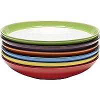 Lot de Vaisselle Assiette Creuse - Ensemble Assiette Grès - Lot Assiette Couleur - Assiette Spaghetti - Assiette…
