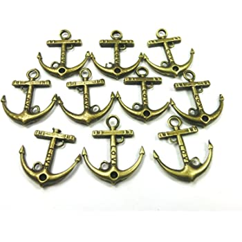 10 Charms Anker 19mm Anhänger Farbe bronze Metall #S384