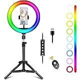Ownaco Anillo de luz para selfie con trípode, 10 pulgadas, 15 colores, 10 niveles de brillo, 1000 lúmenes, 128 LED, luz ABS,