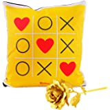 Archies 1st Valentine's Day Fabric Cushion and Golden Rose