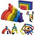 XIAPIA Jouet en Bois Arc-en-Ciel 19 Blocs de Construction Motricité Fine Jouets Montessori pour Garçons Filles Puzzle en Bois