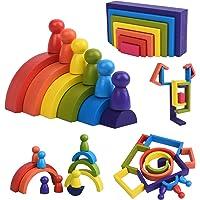 XIAPIA Jouet en Bois Arc-en-Ciel 19 Blocs de Construction Motricité Fine Jouets Montessori pour Garçons Filles Puzzle en…