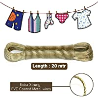 ALOUD CREATIONS 20-Meter PVC Coated Steel Anti-Rust Wire Rope Washing Line Clothesline with 2 Plastic Hooks (Multi Colour) – Pack of 1