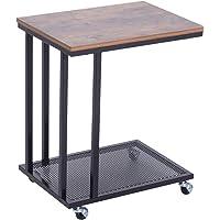 Homcom Table Basse Table d'appoint Vintage Style Industriel étagère Acier Noir MDF Coloris boisé