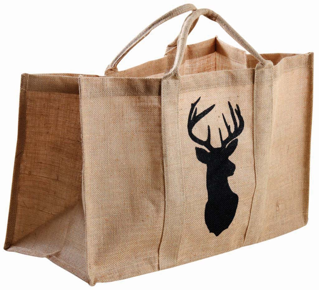 Bolsa para leña yute plastificada con ciervo