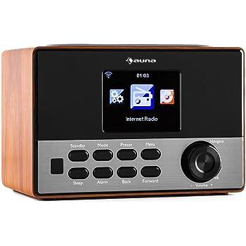 auna Connect 90 WN • Internetradio • Digitalradio • WLAN-Radio • Netzwerkplayer • AUX • Line-Ausgang • MP3-fähiger USB-Slot • Wecker • Farbdisplay • Dimmfunktion • Wetteranzeige • Holz • walnuss