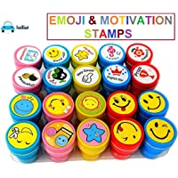 FunBlast 10 Emoji and 10 Motivation Stamper for Kids Educational Toys Art and Craft School Supplies Set of 20 Learning Toys for Kids|Boys|Girls (Emoji & Motivation Stamps)