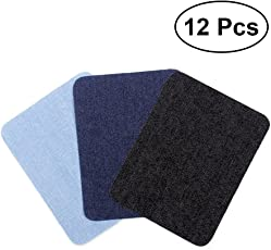 TOYMYTOY Iron On Patches Sweaters Shirt Elbows Knee Patch Jean Denim Patches (Black + Dark Blue + Light Blue) - 12pcs