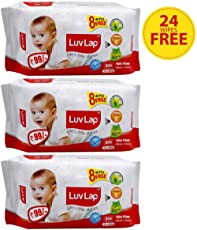 Luvlap Paraben Free Baby Wet Wipes with Aloe Vera - 3 Packs (216 Wipes + 24 Wipes Free)